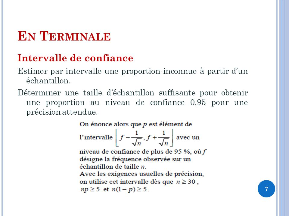 E N T ERMINALE Intervalle de confiance Estimer par intervalle une proportion inconnue à partir dun échantillon.