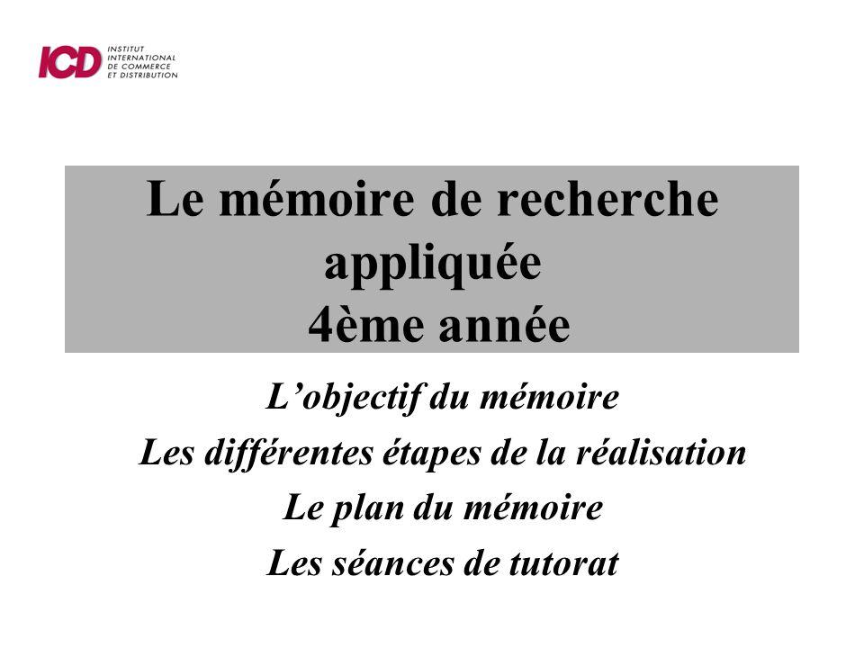 Le mémoire de recherche appliquée 4ème année Lobjectif du mémoire Les différentes étapes de la réalisation Le plan du mémoire Les séances de tutorat