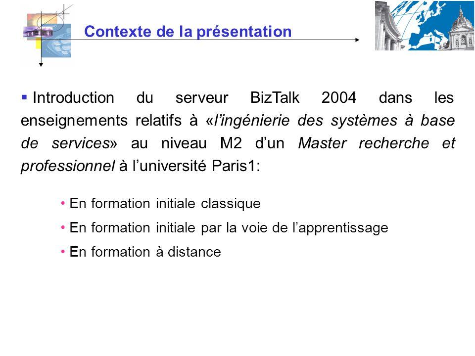 Contexte de la présentation Introduction du serveur BizTalk 2004 dans les enseignements relatifs à «lingénierie des systèmes à base de services» au niveau M2 dun Master recherche et professionnel à luniversité Paris1: En formation initiale classique En formation initiale par la voie de lapprentissage En formation à distance