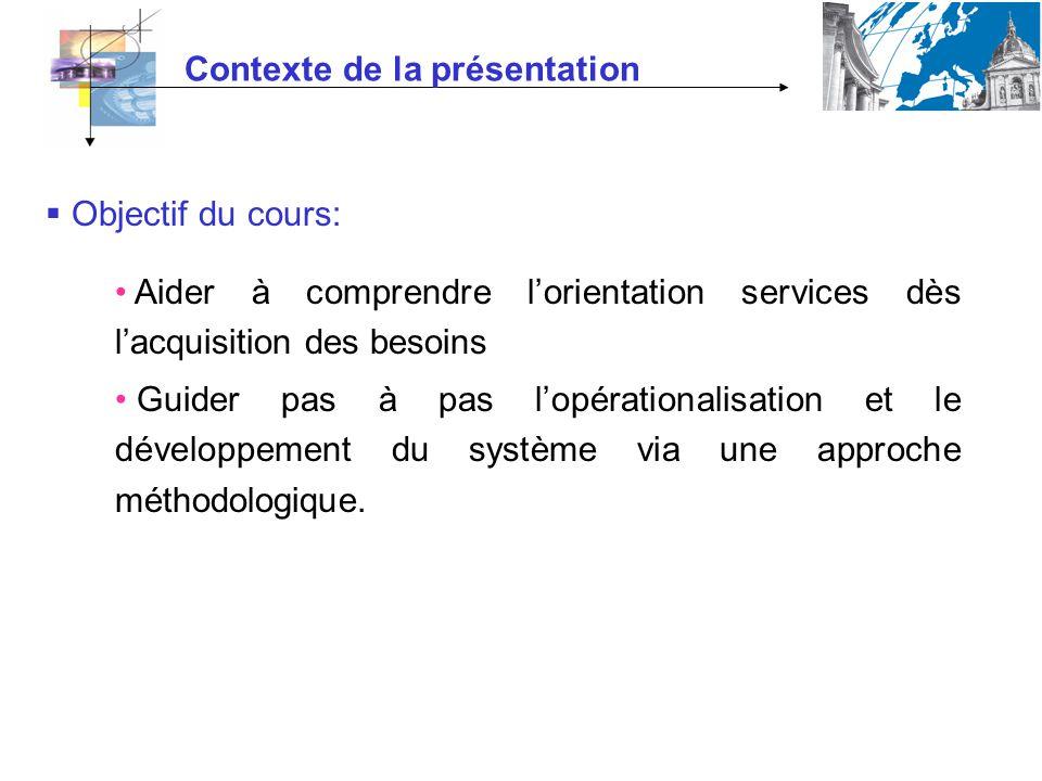 Contexte de la présentation Objectif du cours: Aider à comprendre lorientation services dès lacquisition des besoins Guider pas à pas lopérationalisat