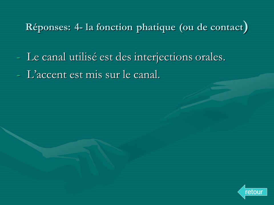 Réponses: 4- la fonction phatique (ou de contact ) -Le canal utilisé est des interjections orales. -Laccent est mis sur le canal. retour
