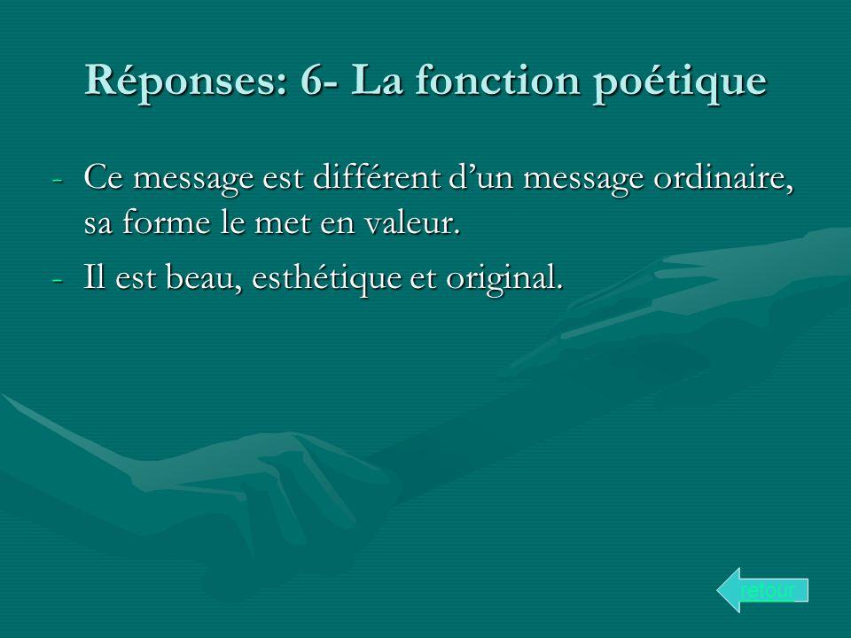 Réponses: 6- La fonction poétique -Ce message est différent dun message ordinaire, sa forme le met en valeur. -Il est beau, esthétique et original. re