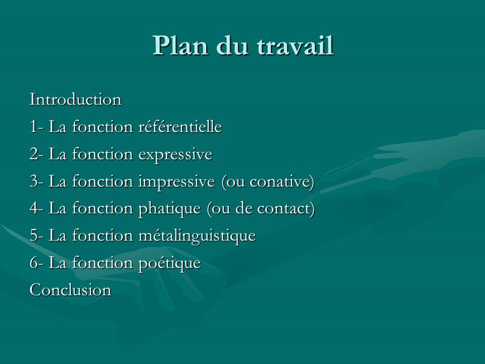 Plan du travail Introduction 1- La fonction référentielle 2- La fonction expressive 3- La fonction impressive (ou conative) 4- La fonction phatique (o