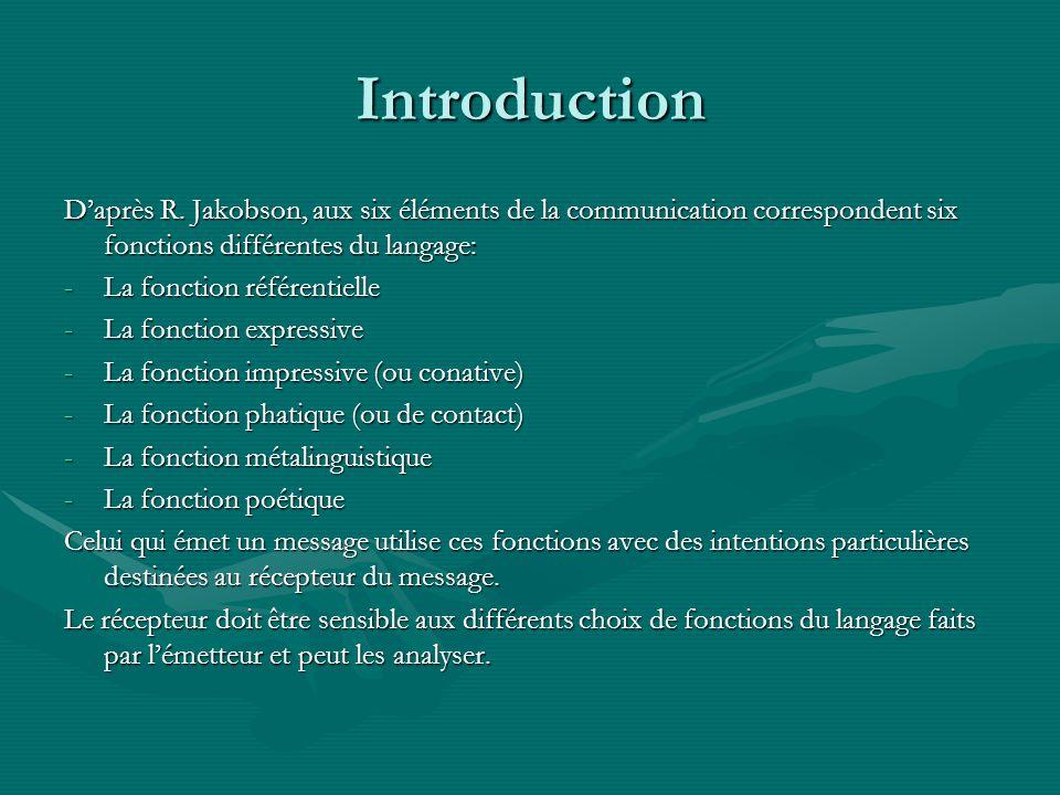 Introduction Daprès R. Jakobson, aux six éléments de la communication correspondent six fonctions différentes du langage: -La fonction référentielle -