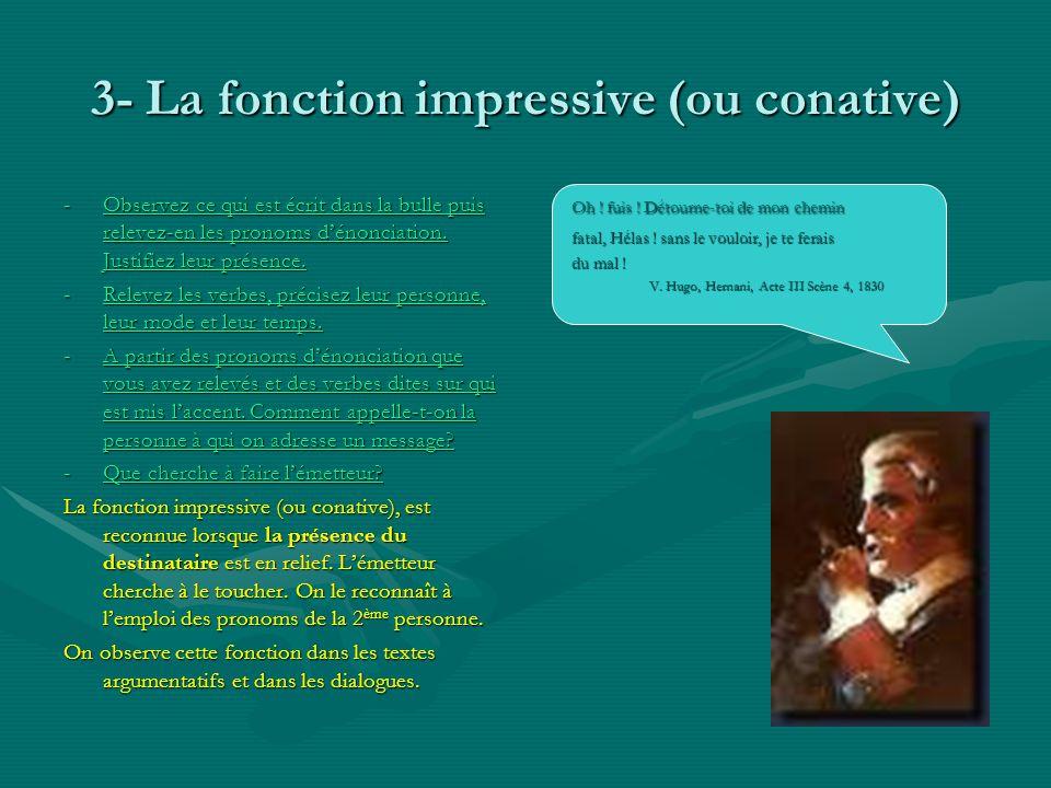 3- La fonction impressive (ou conative) -Observez ce qui est écrit dans la bulle puis relevez-en les pronoms dénonciation. Justifiez leur présence. Ob