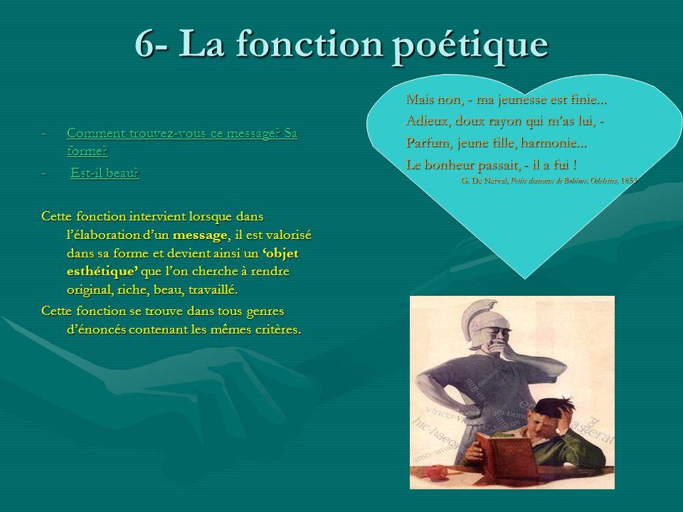 6- La fonction poétique -Comment trouvez-vous ce message? Sa forme? Comment trouvez-vous ce message? Sa forme?Comment trouvez-vous ce message? Sa form