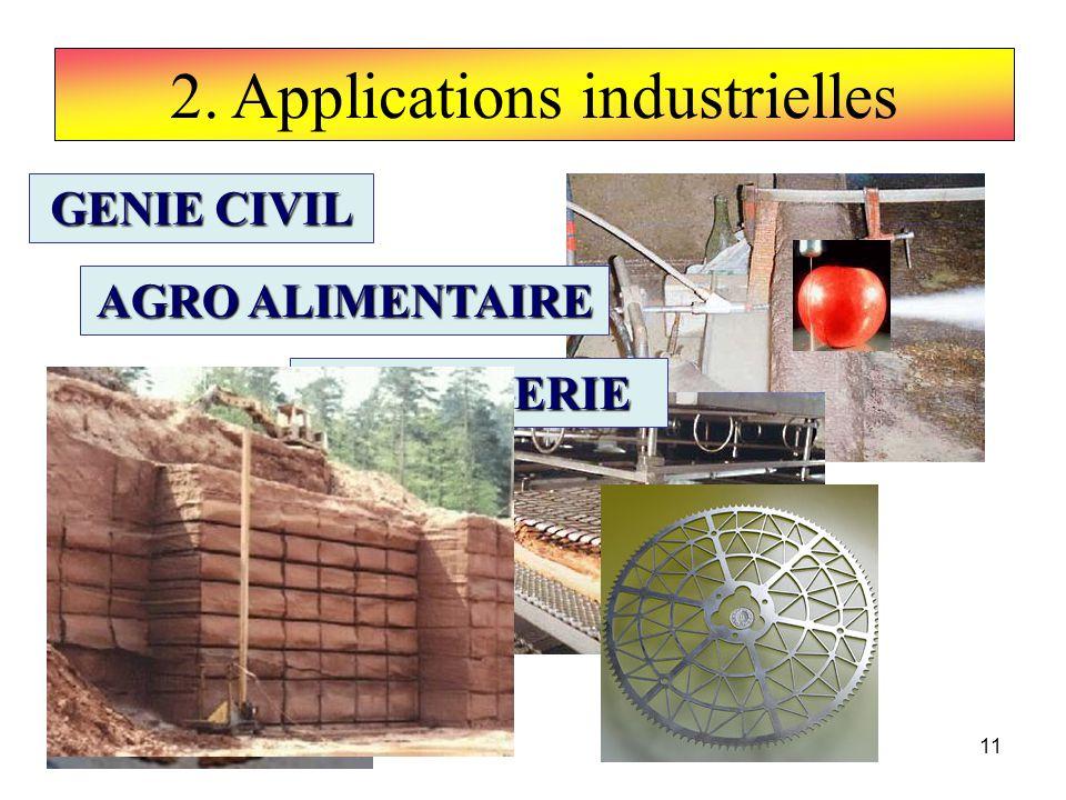 11 2. Applications industrielles GENIE CIVIL AGRO ALIMENTAIRE HORLOGERIE