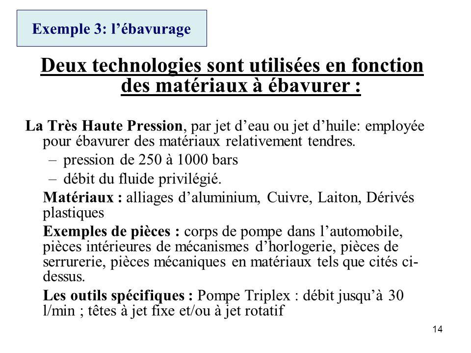 14 Exemple 3: lébavurage Deux technologies sont utilisées en fonction des matériaux à ébavurer : La Très Haute Pression, par jet deau ou jet dhuile: e
