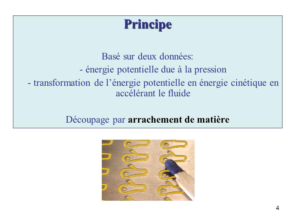 4 Principe Basé sur deux données: - énergie potentielle due à la pression - transformation de lénergie potentielle en énergie cinétique en accélérant