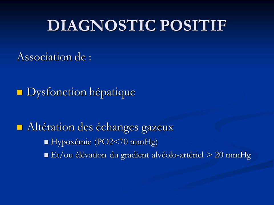 DIAGNOSTIC POSITIF Association de : Dysfonction hépatique Dysfonction hépatique Altération des échanges gazeux Altération des échanges gazeux Hypoxémi