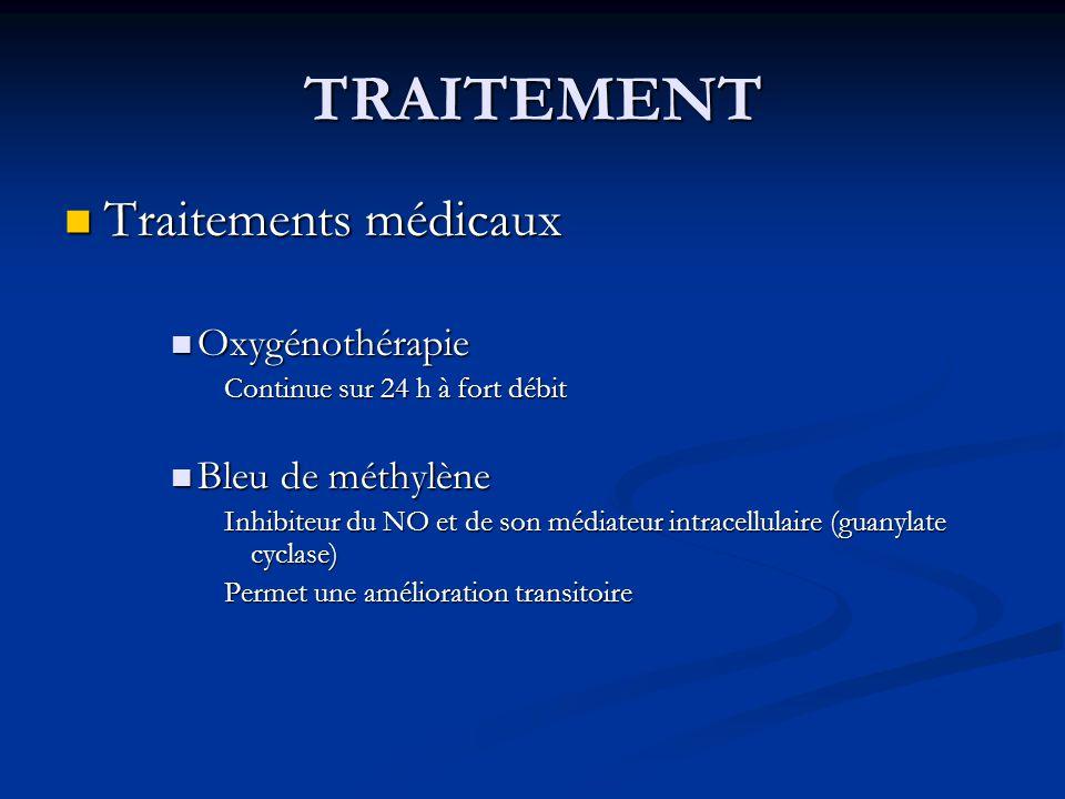 TRAITEMENT Traitements médicaux Traitements médicaux Oxygénothérapie Oxygénothérapie Continue sur 24 h à fort débit Bleu de méthylène Bleu de méthylèn