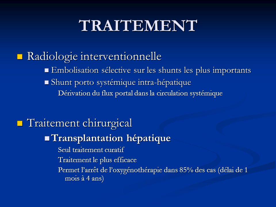 TRAITEMENT Radiologie interventionnelle Radiologie interventionnelle Embolisation sélective sur les shunts les plus importants Embolisation sélective
