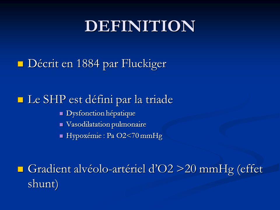 DEFINITION Décrit en 1884 par Fluckiger Décrit en 1884 par Fluckiger Le SHP est défini par la triade Le SHP est défini par la triade Dysfonction hépat