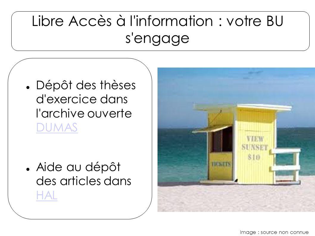 Libre Accès à l information : votre BU s engage Image : source non connue Dépôt des thèses d exercice dans l archive ouverte DUMAS DUMAS Aide au dépôt des articles dans HAL HAL