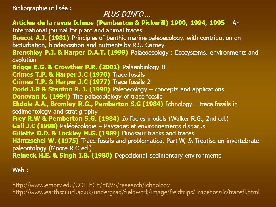 Bibliographie utilisée : Articles de la revue Ichnos (Pemberton & Pickerill) 1990, 1994, 1995 – An International journal for plant and animal traces B