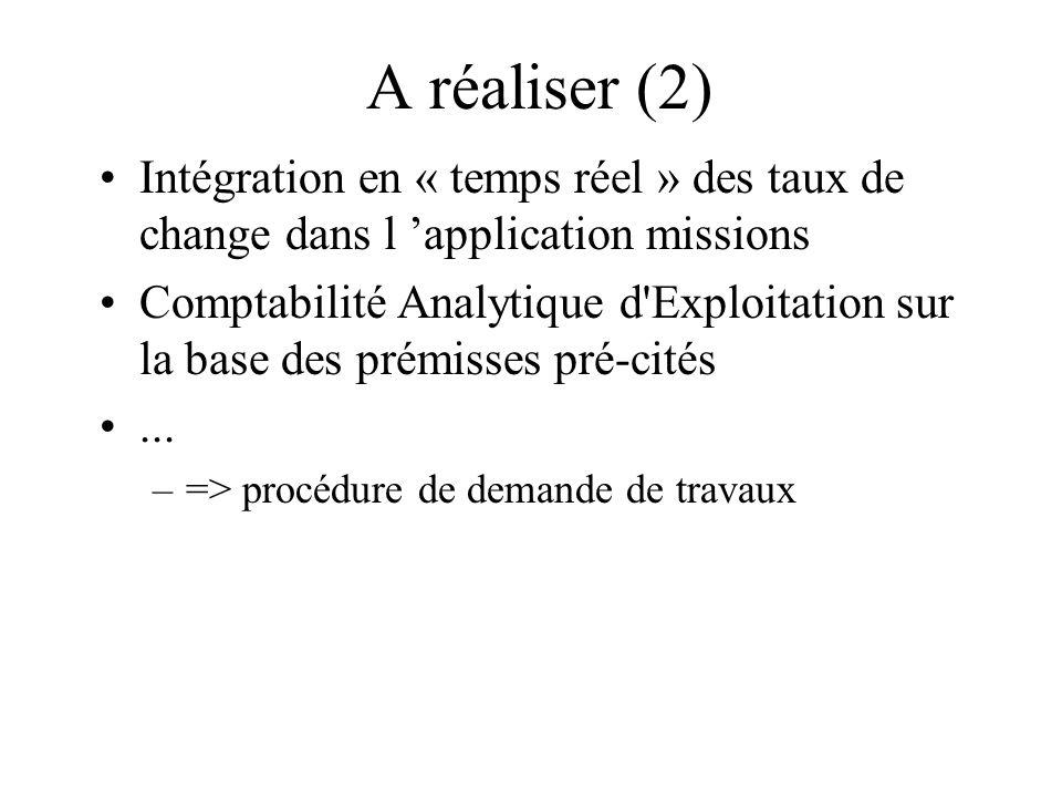 A réaliser (2) Intégration en « temps réel » des taux de change dans l application missions Comptabilité Analytique d Exploitation sur la base des prémisses pré-cités...