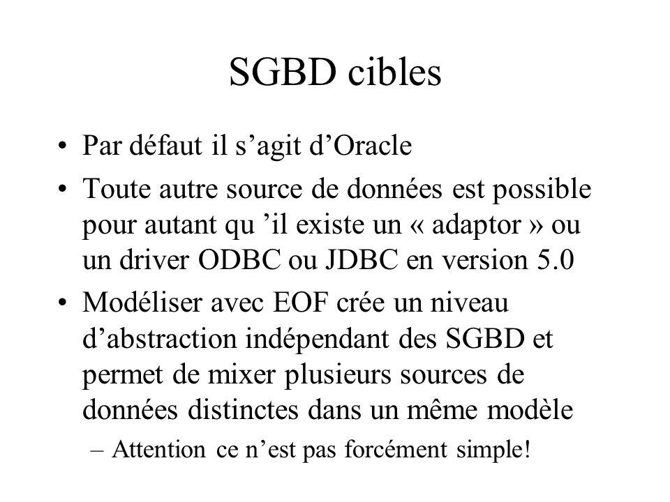 SGBD cibles Par défaut il sagit dOracle Toute autre source de données est possible pour autant qu il existe un « adaptor » ou un driver ODBC ou JDBC en version 5.0 Modéliser avec EOF crée un niveau dabstraction indépendant des SGBD et permet de mixer plusieurs sources de données distinctes dans un même modèle –Attention ce nest pas forcément simple!