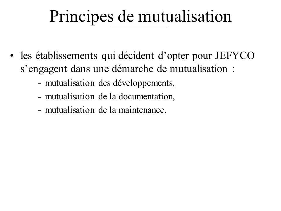 Principes de mutualisation les établissements qui décident dopter pour JEFYCO sengagent dans une démarche de mutualisation : -mutualisation des développements, -mutualisation de la documentation, -mutualisation de la maintenance.
