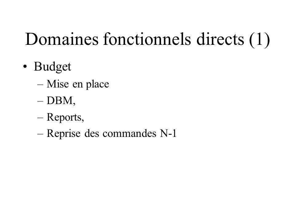 Domaines fonctionnels directs (1) Budget –Mise en place –DBM, –Reports, –Reprise des commandes N-1