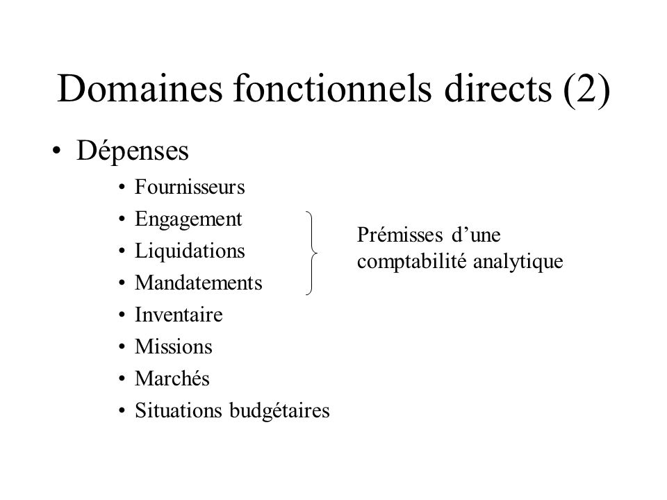Domaines fonctionnels directs (2) Dépenses Fournisseurs Engagement Liquidations Mandatements Inventaire Missions Marchés Situations budgétaires Prémisses dune comptabilité analytique