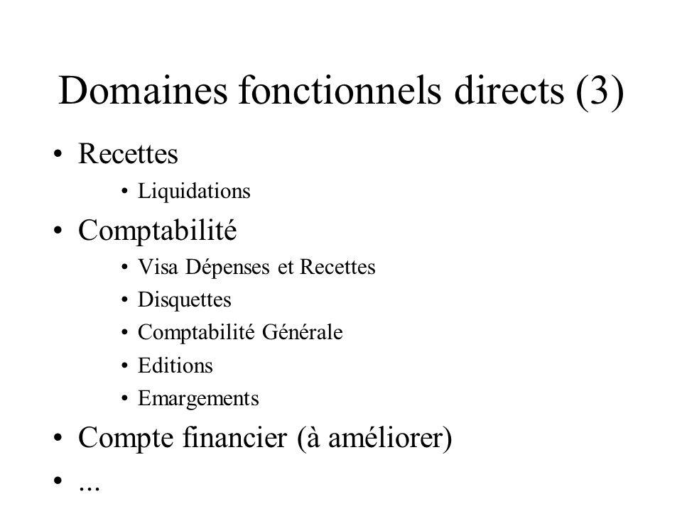 Domaines fonctionnels directs (3) Recettes Liquidations Comptabilité Visa Dépenses et Recettes Disquettes Comptabilité Générale Editions Emargements Compte financier (à améliorer)...