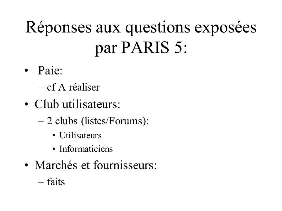 Réponses aux questions exposées par PARIS 5: Paie: –cf A réaliser Club utilisateurs: –2 clubs (listes/Forums): Utilisateurs Informaticiens Marchés et fournisseurs: –faits