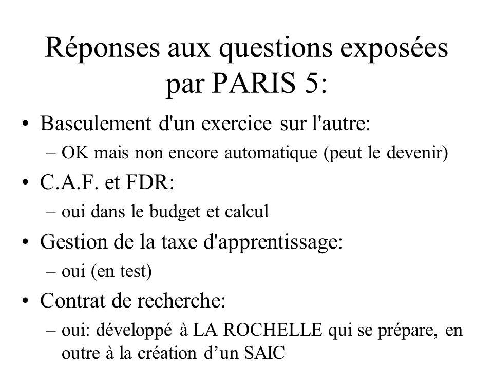 Réponses aux questions exposées par PARIS 5: Gestion des stocks: –oui (magasin) Mission à létranger : –oui mais intégration taux de changes à faire Comptes rattachés (= cpte 18): –oui Bordereau de remise chèques: –oui mais à intégrer