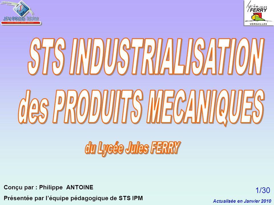 Conçu par : Philippe ANTOINE Présentée par léquipe pédagogique de STS IPM Actualisée en Janvier 2010 1/30