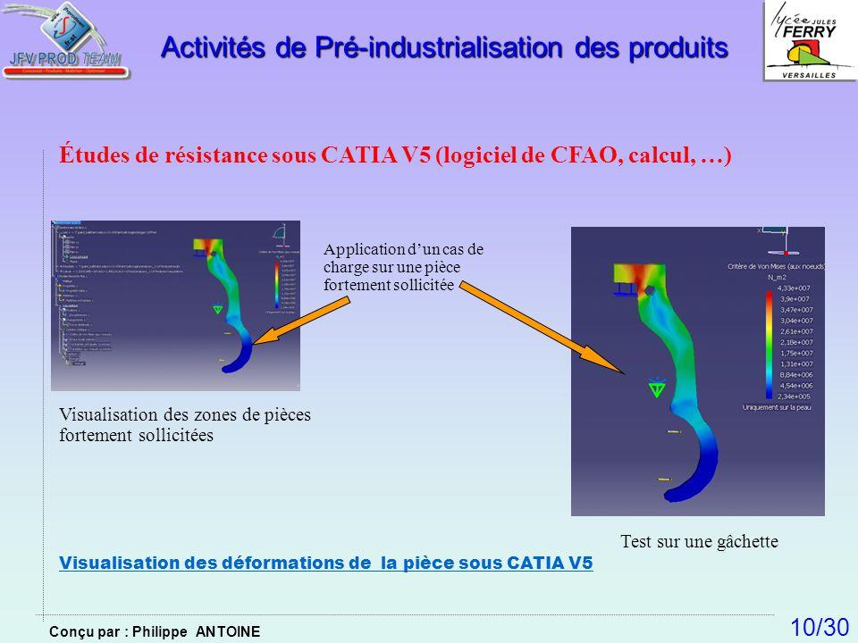 Études de résistance sous CATIA V5 (logiciel de CFAO, calcul, …) Application dun cas de charge sur une pièce fortement sollicitée Visualisation des zo