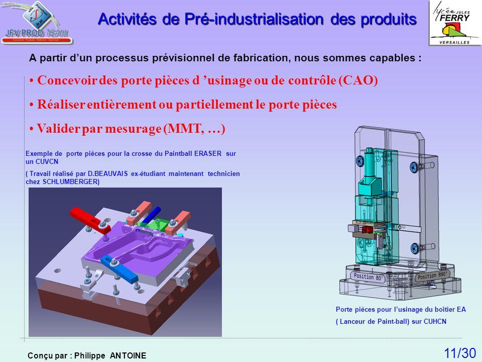 A partir dun processus prévisionnel de fabrication, nous sommes capables : Concevoir des porte pièces d usinage ou de contrôle (CAO) Réaliser entièrem
