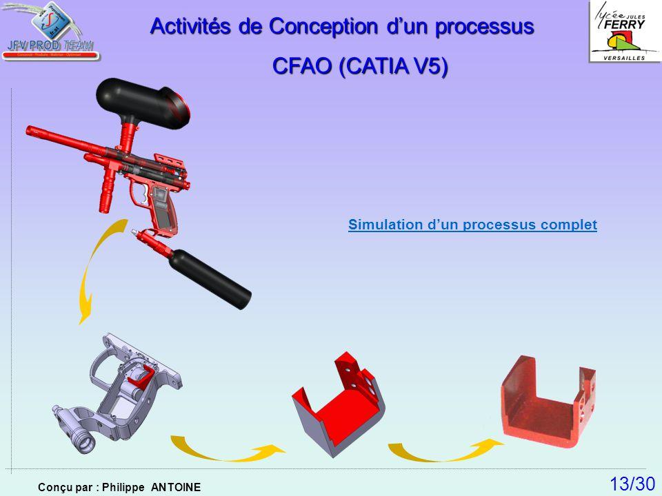 Simulation dun processus complet Activités de Conception dun processus CFAO (CATIA V5) CFAO (CATIA V5) 13/30 Conçu par : Philippe ANTOINE