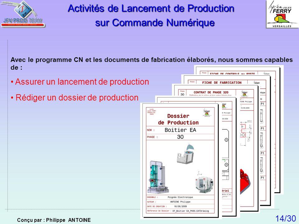 Avec le programme CN et les documents de fabrication élaborés, nous sommes capables de : Assurer un lancement de production Rédiger un dossier de prod