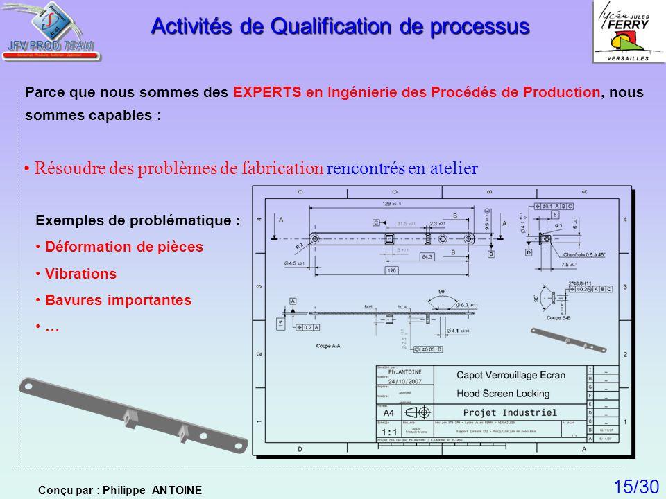 Résoudre des problèmes de fabrication rencontrés en atelier Activités de Qualification de processus Parce que nous sommes des EXPERTS en Ingénierie de