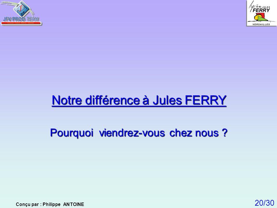 Notre différence à Jules FERRY Pourquoi viendrez-vous chez nous ? 20/30 Conçu par : Philippe ANTOINE