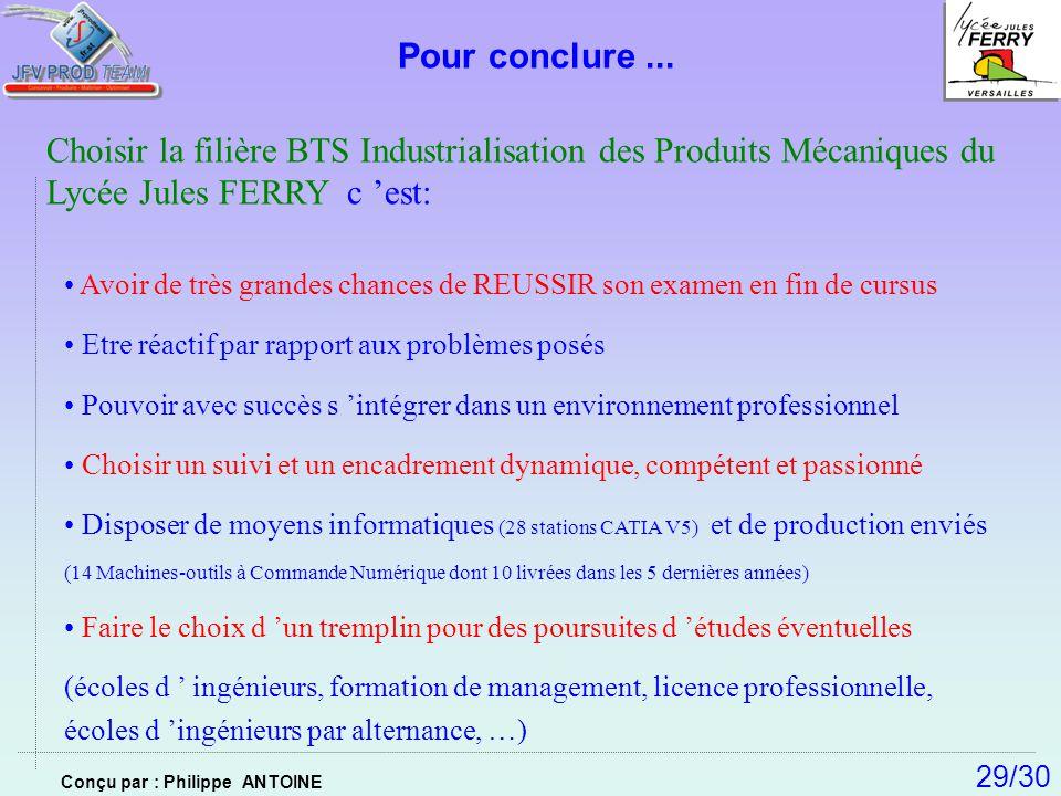 Pour conclure... Choisir la filière BTS Industrialisation des Produits Mécaniques du Lycée Jules FERRY c est: Avoir de très grandes chances de REUSSIR