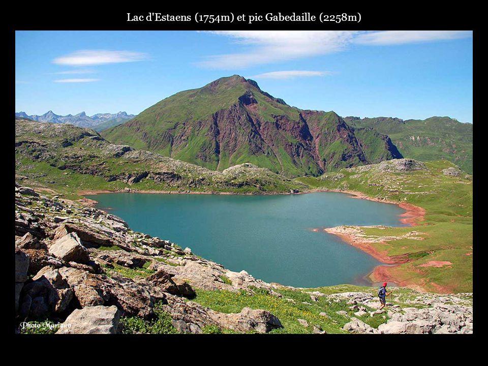 .. Panorama sur la vallée dAspe et les hauts sommets des Pyrénées