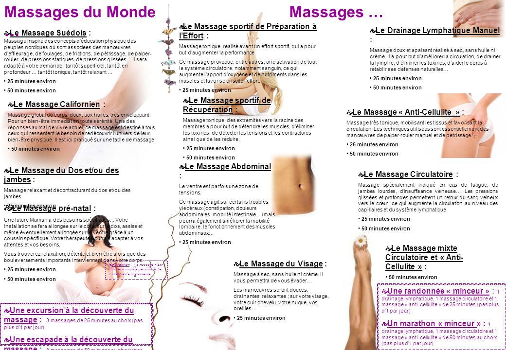 Le Massage Suédois : Massage inspiré des concepts déducation physique des peuples nordiques où sont associées des manœuvres deffleurage, de foulages,