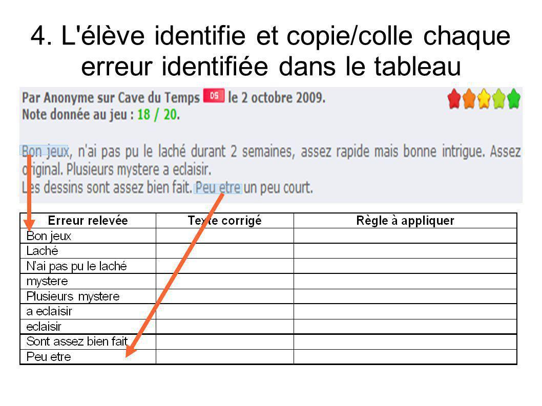 4. L'élève identifie et copie/colle chaque erreur identifiée dans le tableau