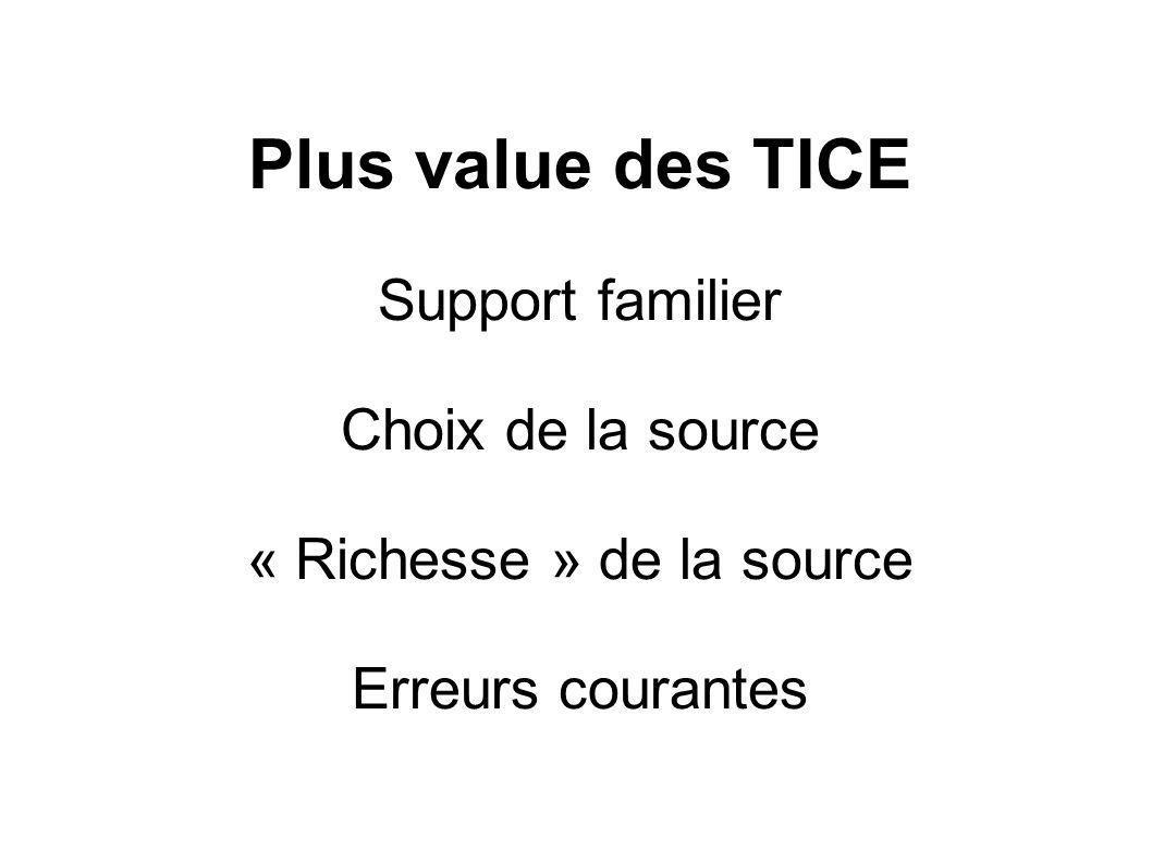 Plus value des TICE Support familier Choix de la source « Richesse » de la source Erreurs courantes
