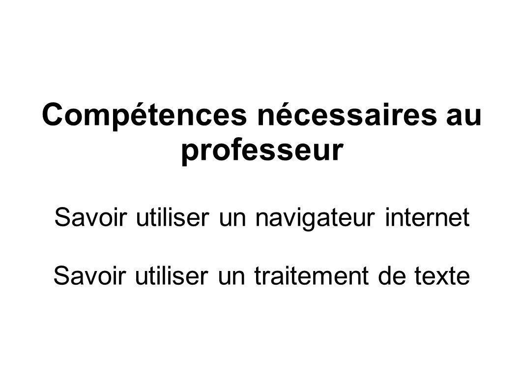 Compétences nécessaires au professeur Savoir utiliser un navigateur internet Savoir utiliser un traitement de texte