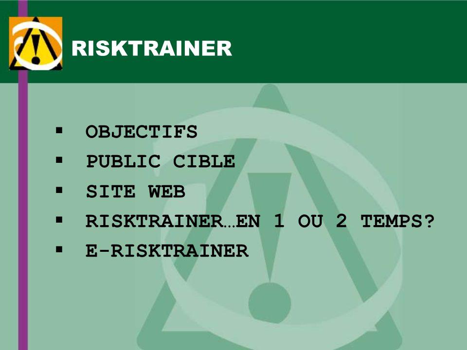 RISKTRAINER OBJECTIFS PUBLIC CIBLE SITE WEB RISKTRAINER…EN 1 OU 2 TEMPS E-RISKTRAINER