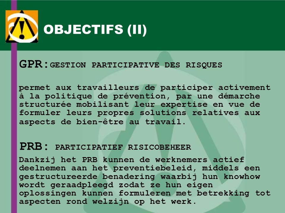 OBJECTIFS (II) GPR: GESTION PARTICIPATIVE DES RISQUES permet aux travailleurs de participer activement à la politique de prévention, par une démarche
