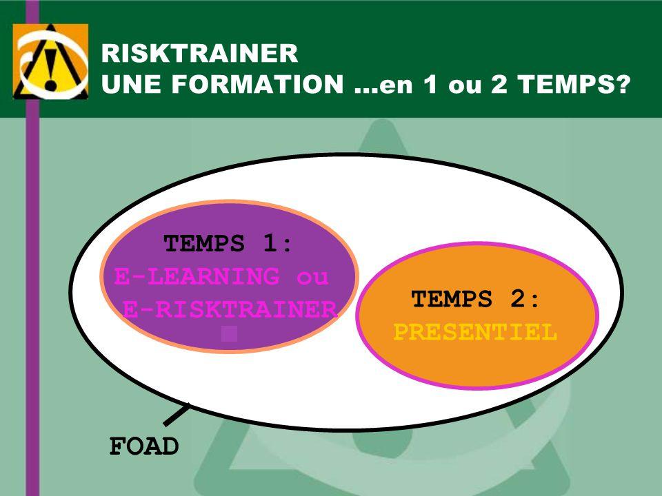 RISKTRAINER UNE FORMATION …en 1 ou 2 TEMPS? TEMPS 2: PRESENTIEL TEMPS 1: E-LEARNING ou E-RISKTRAINER FOAD