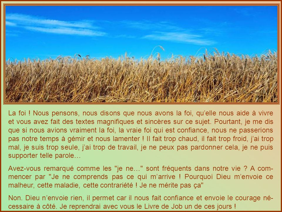 Dans ce passage rapporté par Saint Luc (17, 5 - 10) ce sont deux phrases très dures que nous dit Jésus : - Si vous aviez de la foi gros comme un grain