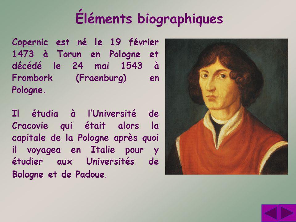 Éléments biographiques Copernic est né le 19 février 1473 à Torun en Pologne et décédé le 24 mai 1543 à Frombork (Fraenburg) en Pologne. Il étudia à l