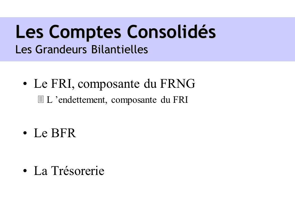 Les Comptes Consolidés Les Grandeurs Bilantielles Le FRI, composante du FRNG 3L endettement, composante du FRI Le BFR La Trésorerie