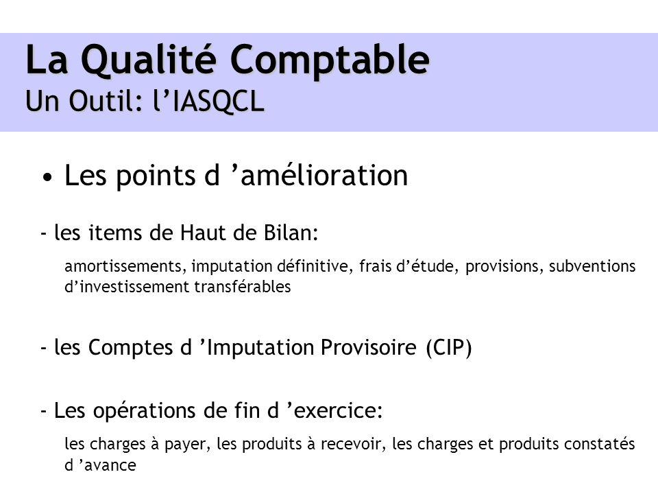 La Qualité Comptable Un Outil: lIASQCL Les points d amélioration - les items de Haut de Bilan: amortissements, imputation définitive, frais détude, pr