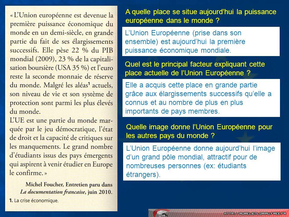 A quelle place se situe aujourdhui la puissance européenne dans le monde ? Quel est le principal facteur expliquant cette place actuelle de lUnion Eur