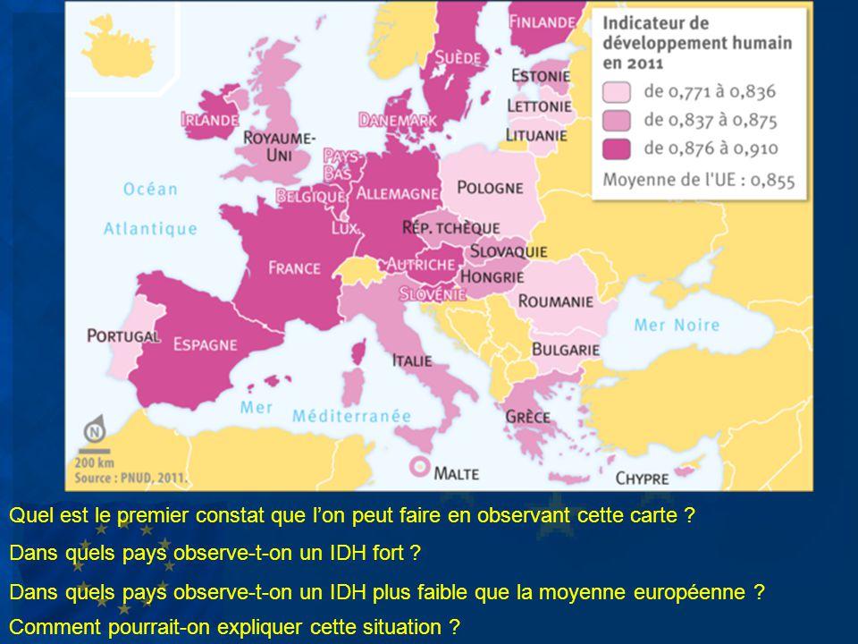 Quel est le premier constat que lon peut faire en observant cette carte ? Dans quels pays observe-t-on un IDH fort ? Dans quels pays observe-t-on un I
