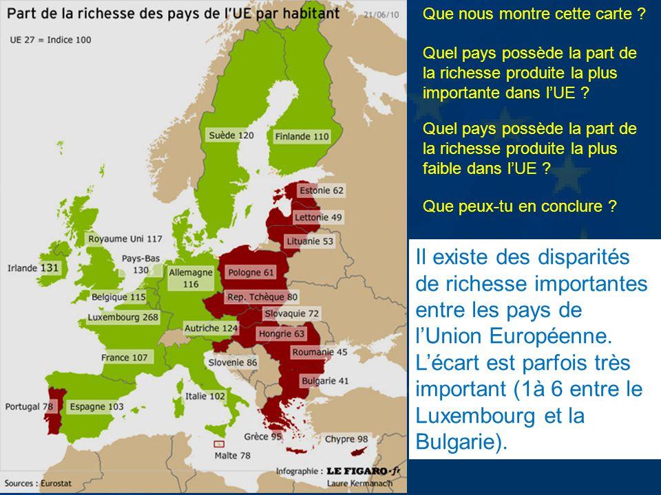 Que nous montre cette carte ? Quel pays possède la part de la richesse produite la plus importante dans lUE ? Quel pays possède la part de la richesse